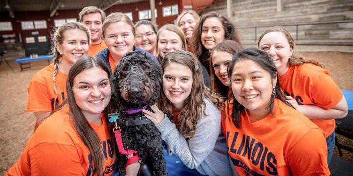 Group of female students in Illini Orange shirts surrounding a black labradoodle dog.